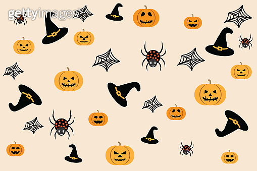 Halloween Pattern decoration with purple hat witch, spider and spider web as design element.