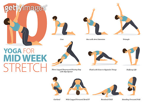 10 Yoga poses or asana posture for workout in Mid-Week Stretch concept. Women exercising for body stretching. Fitness infographic. Flat cartoon vector