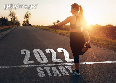 Girl waiting to start the new year 2022. New goals, plans and visions  for the next year 2022.