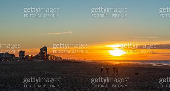 Peope walking, Oostende Beach, Belgium