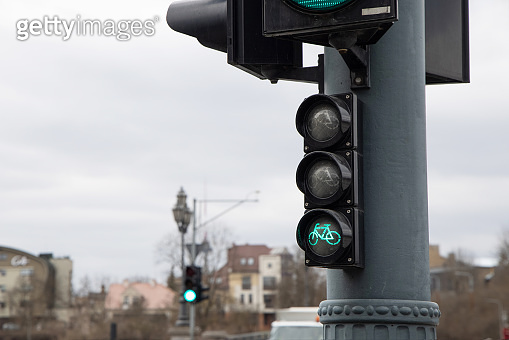 Green traffic lights for bicycles in the city. Green light for sports concept.