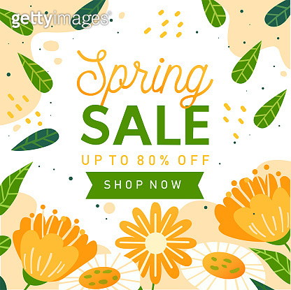 Spring sale 2021. Flower and green. Vector illustration.