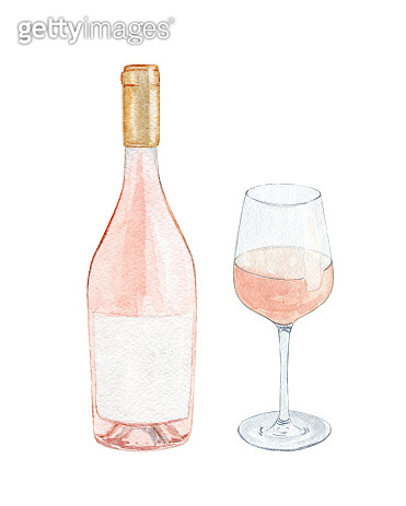 watercolor rose wine bottle and glass set isolated on white background.