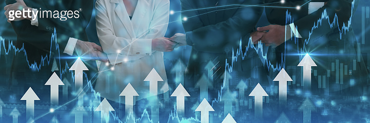 Double exposure-business team joining hand,symbol arrow up,stock graph and chart background,concept growth business,investment,Stock market and strategy for making market plan,stock market fluctuation