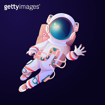 Astronaut scientific hero waving hand in cosmos. Vector cartoon astronomy explorer in space suit and helmet, exploration of galaxy universe. Spaceman with breathing oxygen tanks, blue background