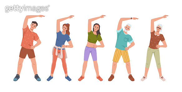 Cartoon people training together stretching hand aside, yoga fitness classes. Vector flat cartoon people doing sport exercises, sportsman training workout. Healthy lifestyle wellness wellbeing