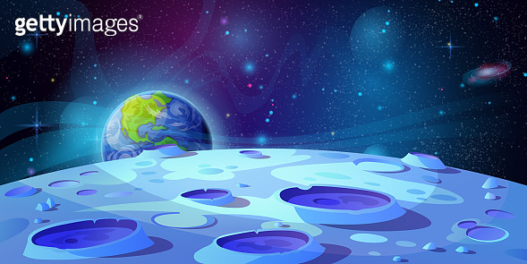 Moon surface landscape with craters and Earth on background cartoon vector illustration. Lunar ground, fantasy futuristic view in outer space, blue rocks and holes. Cosmic asteroids, futuristic land