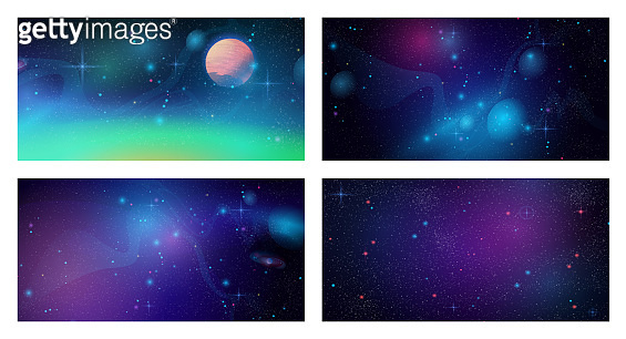 Space galaxy backgrounds set. Vector cosmos universe textures, deep purple sky with stars and planets, dark outer space panorama. Starry futuristic surface with asteroids, purple nebula, dust scenery
