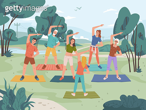 Group fitness outdoor class in city park. Vector yoga exercise on fresh air, man and woman training together with instructor, cartoon characters. Healthy lifestyle, sport activity, landscape scenery