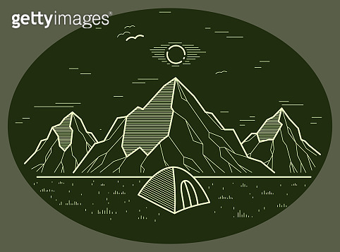 Camping tent in mountains range vector linear illustration on dark, holidays and vacations theme line art drawing, design wanderlust.