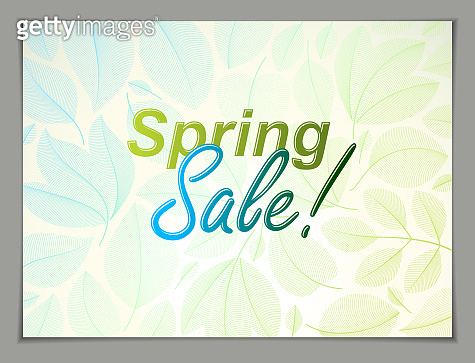 Spring leaves horizontal background, nature seasonal template for design banner, ticket, leaflet, card, poster with green and fresh floral elements. Sale, advertising poster, brochure or flyer design.