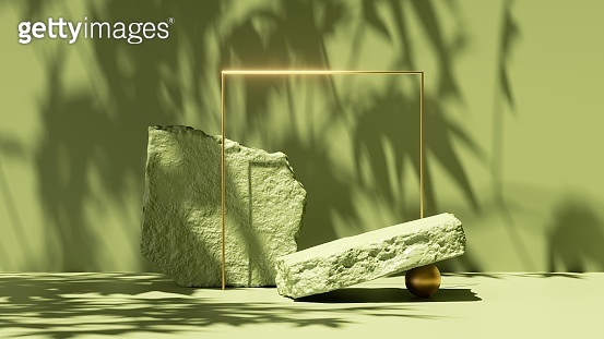 3d render, abstract green background with tropical leaves shadows and bright sunlight. Minimal scene with cobblestone podium and golden square frame, showcase for organic cosmetic product presentation