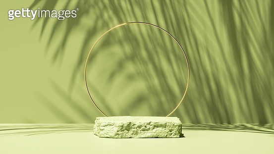 3d render, abstract green background with tropical leaves shadow and bright sunlight. Minimal scene with cobblestone stage and golden round frame for organic cosmetic product presentation