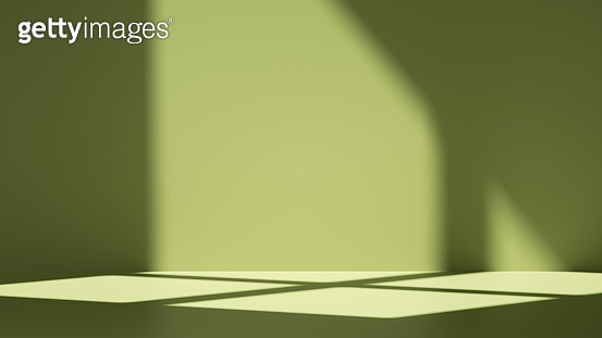 3d render, simple abstract green background with shadows and illuminated with bright sunlight going through the window. Modern minimal showcase scene for product presentation