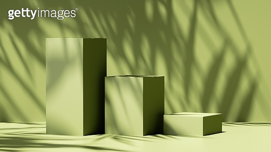 3d render, abstract green background with leaves shadow and bright sunlight. Minimal showcase scene with cubic stone pedestals for organic cosmetic product presentation