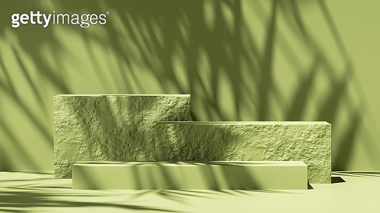 3d render, abstract green background with leaves shadow and bright sunlight. Minimal showcase scene with cobble stones pedestal for organic cosmetic product presentation