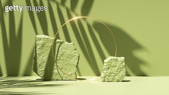 3d render, abstract green background with tropical leaf shadow and bright sunlight. Minimal showcase scene with cobblestones and golden ring for organic cosmetic product presentation