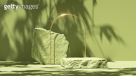 3d render, abstract green background with tropical leaves shadow and bright sunlight. Minimal scene with cobble stone platform and golden arch for cosmetic product presentation