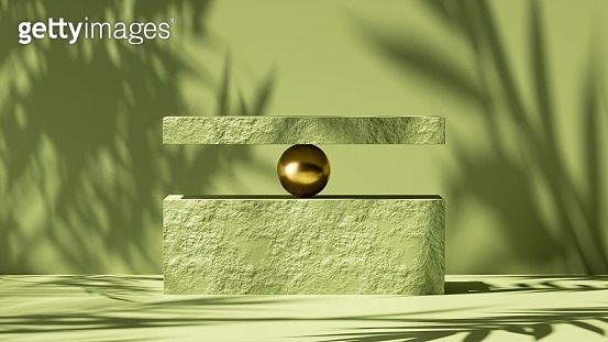 3d render, abstract minimal green background. Empty rock podium, palm leaf shadow and bright sunlight. Minimal showcase for presentation of organic cosmetic products