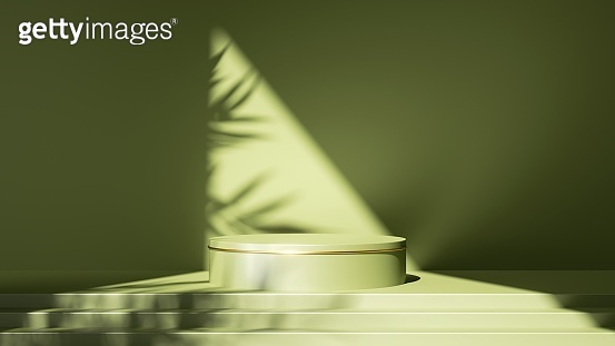 3d render, abstract minimal green background. Empty stage with steps and cylinder podium, leaf shadows and bright sunlight going through triangular slot. Minimal showcase scene for product displaying