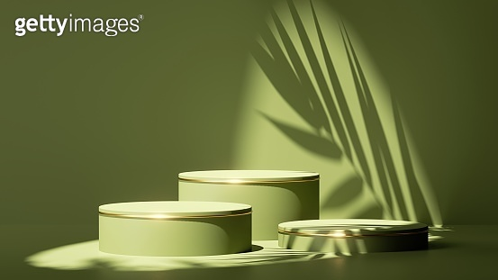 3d render, abstract minimal green background. Empty stage with three cylinder podiums, palm leaf shadow and bright sunlight. Minimal showcase for presentation of organic cosmetic products