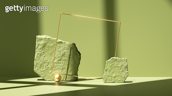 3d render, abstract green background with shadows and bright sunlight. Minimal scene with rough cobble stones and golden square frame, showcase for product presentation