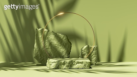 3d render, abstract green background with leaves shadows and bright sunlight. Minimal scene with cobblestone podium and golden round frame, showcase for organic cosmetic product presentation