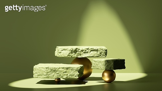 3d render, abstract green background with shadows and bright sunlight. Minimal scene with rough cobblestone slabs balancing on golden balls, showcase for product presentation