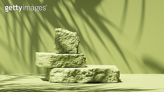 3d render, abstract green background with tropical leaves shadow and bright sunlight. Minimal showcase scene with cobble stones pedestal for eco cosmetic product presentation