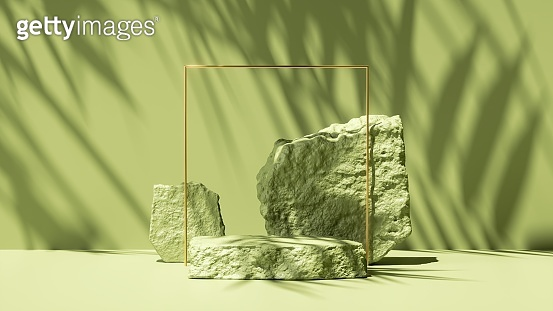 3d render, abstract green background with tropical leaves shadow and bright sunlight. Minimal scene with cobblestone podium and golden square frame for cosmetic product presentation