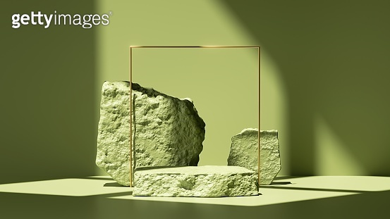 3d render, abstract green background with shadows and bright sunlight. Minimal scene with cobblestone podium and golden square frame, showcase for organic cosmetic product presentation