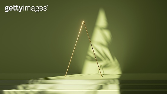 3d render, abstract green background. Empty stage with steps, leaf shadows and bright sunlight. Minimal scene with golden triangular arch frame, showcase for product presentation