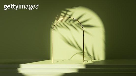 3d render, abstract green background. Empty stage with steps, leaves shadows and bright sunlight. Minimal scene with golden round arch, showcase for product presentation