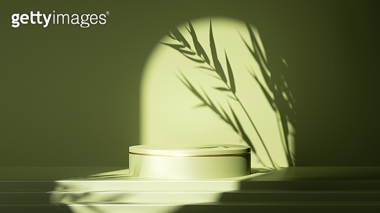 3d render, abstract minimal green background. Empty stage with steps and cylinder podium, leaf shadows and bright sunlight going through round arch. Minimal showcase for displaying organic product