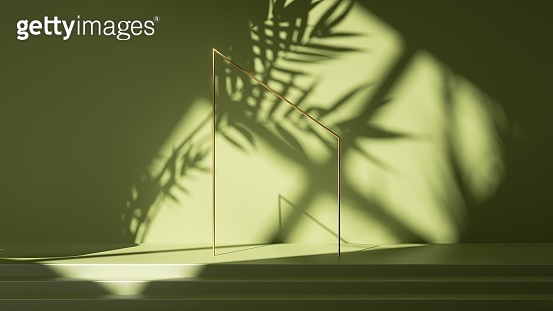 3d render, abstract green background. Empty stage with steps, leaf shadows and bright sunlight going through the window. Minimal scene with golden square frame, showcase for product presentation