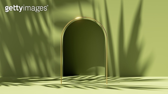 3d render, abstract green background with tropical leaf shadows and bright sunlight. Minimal scene with arch niche and golden frame, showcase for organic cosmetic product presentation