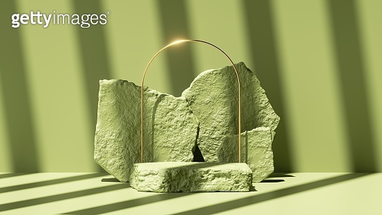3d render, abstract green background with shadow and bright sunlight. Minimal scene with golden arch, cobble stones and platform for organic cosmetic product presentation
