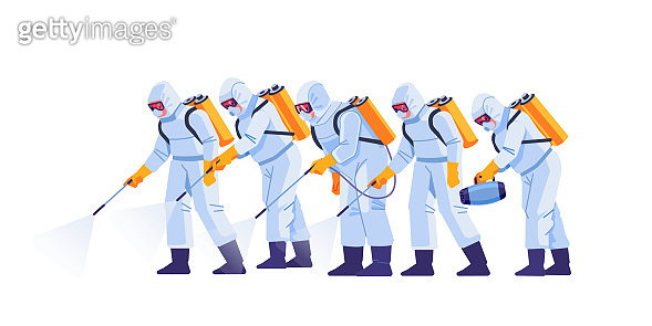 People in virus protective suits and mask disinfecting buildings of coronavirus with the sprayer. Home disinfection by cleaning service. Cartoon flat style illustration isolated on a white background