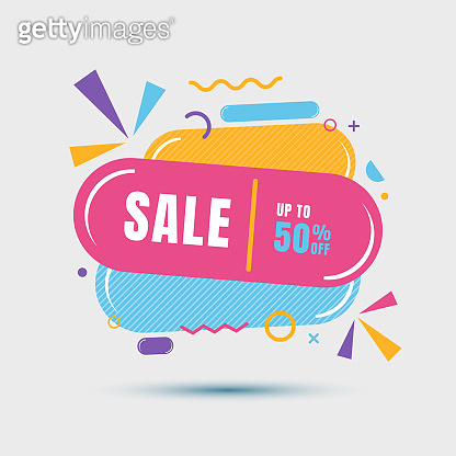 Modern sale banner geometric colorful template for sale, discount, promotion, etc.