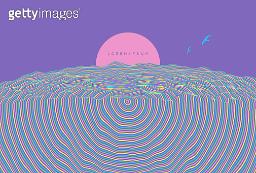 Futuristic violet night sky with the full moon. Pattern with optical illusion. Abstract striped background. 3d vector illustration.