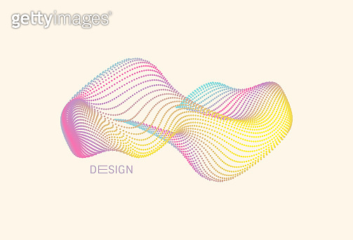 Abstract digital wave with dynamic particles. Sound wave. Big data visualization. 3d vector illustration for business, science or technology.