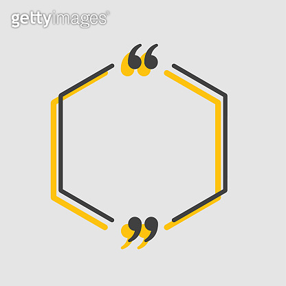 Quote hexagon text with bracket, vector banner