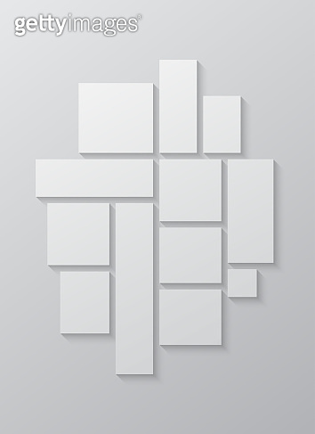 Vector empty collage twelve frames, photos, images