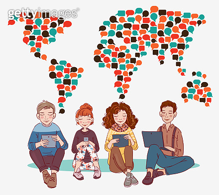 Young people using digital devices. Communication, social media and connection illustration. World map made of colorful speech bubbles. Translating, language interpreter and communication vector concept