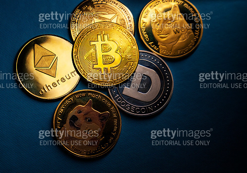 Close up shot of Bitcoin and alt coins cryptocurrency