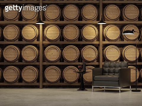 Loft style living room with wooden wine barrel background 3d render