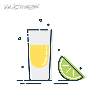 Line art snack tequila lime. Mexican beverage. White background. Tasty snack. Closeup shot. Trendy fruit food design. Color minimalism simplicity sign. Alcoholic product for restaurant illustration