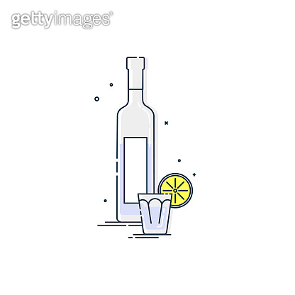 Vodka in bottle and glass with snack lemon. White background. Tasty snack. Closeup shot. Trendy fruit food design. Minimalism simplicity colored sign. Alcoholic product for restaurant illustration