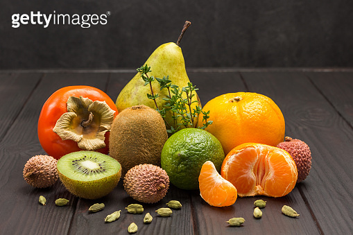 Set of varied, multicolored exotic fruits.