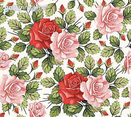 Seamless pattern. Roses pink wildflowers set. Beautiful blooming realistic isolated flowers. Vintage background fabric. Wallpaper baroque. Drawing engraving sketch. Vector victorian illustration.